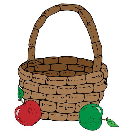 Vector of a basket with apples. Hand drawn beautiful wicker basket with apples.