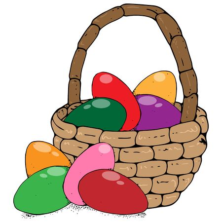 Basket with colored eggs icon. Vector of a wicker basket with painted eggs for easter. Hand drawn basket with colored eggs. Ilustracja