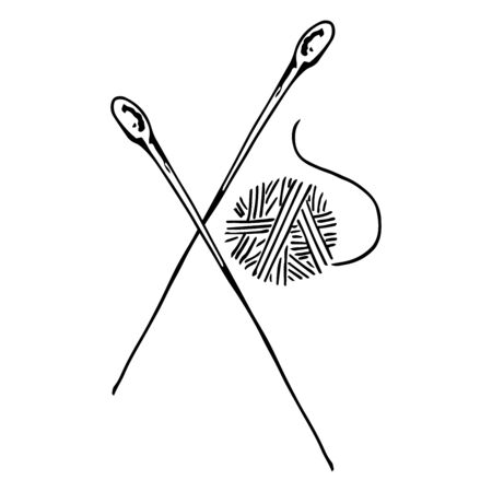 Vector illustration of a ball of thread with knitting needles. Hand drawn thread with needles.