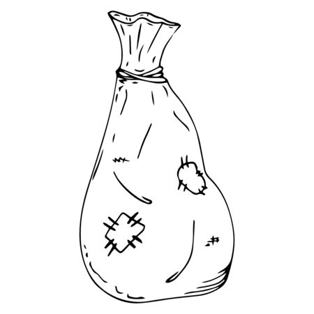 Vector illustration of a fabric bag. Hand drawn antique fabric bag for storing coins.