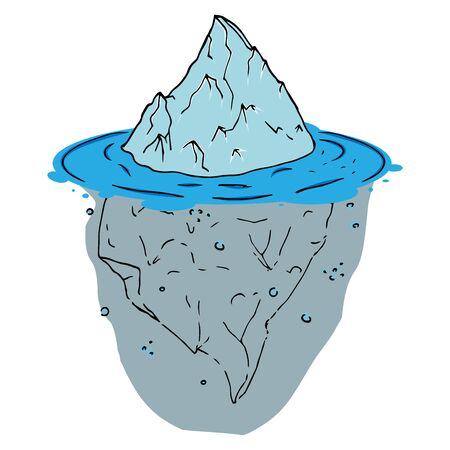 Vector of an iceberg. Glacier hand drawn. Melting iceberg. Concept of global warming.