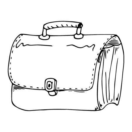 Vector illustration of a businessman briefcase. Hand drawn school bag. Çizim