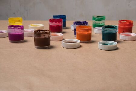 Set of paints for painting. Acrylic paints. Tubes with acrylic paint. Stok Fotoğraf
