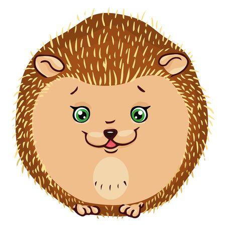 Hedgehog icon. Vector illustration of a cute cartoon hedgehog. Hand drawn smiling hedgehog.