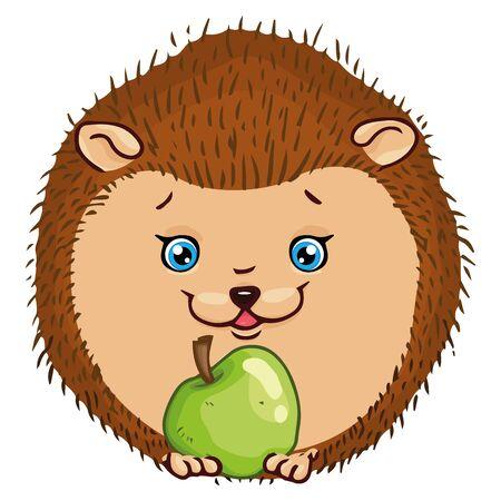 Hedgehog icon. Vector illustration of a cute cartoon hedgehog with an apple. Hand drawn smiling hedgehog.