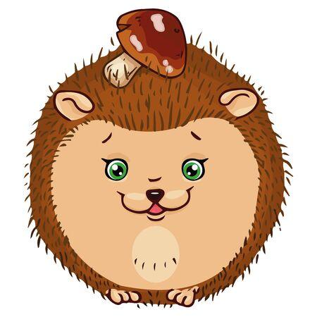 Hedgehog icon. Vector illustration of a cute cartoon hedgehog with a mushroom. Hand drawn smiling hedgehog.