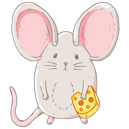 Mouse icon. Vector illustration of a cute little mouse with big ears. Hand drawn cartoon mouse holding a slice of cheese.