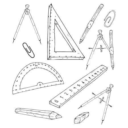 School supplies set. Vector illustration set of rulers, compasses, pencils, paper clips. Hand drawn office stationery paper clips, pencils, rulers.