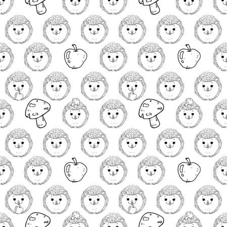 Hedgehogs seamless pattern. Vector illustration of children's background made of hedgehogs and apples seamless pattern. Background from cartoon hedgehogs and mushrooms children's seamless pattern.