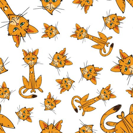 Cats seamless pattern. Vector illustration of funny cats seamless pattern. Background of cartoon cats hand drawn.