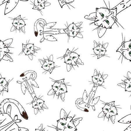 Cats seamless pattern. Vector illustration of funny black cats seamless pattern. Background of cartoon cats hand drawn.