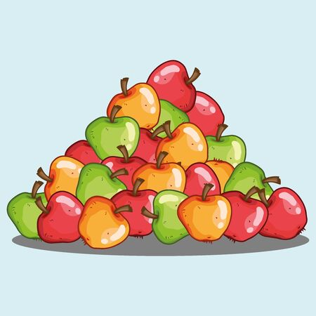 Pile of apples icon. Vector illustration set of apples. Hand drawn bunch of green, red, yellow apples.