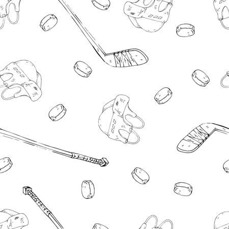 Hockey set seamless pattern. Vector illustration of a hockey stick, helmet, puck seamless pattern. Background from hockey stick hockey stick, puck.