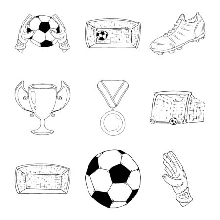 Football set icon. Vector illustration of a soccer ball, boots, soccer gloves and goal. Hand drawn football kit, ball, goalkeeper gloves, goal.