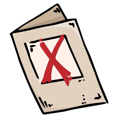 Voting ballot, form, questionnaire icon. Vector illustration of ballot paper. Hand drawn form with a cross mark, document.