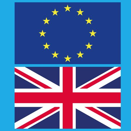 Flag of the European Union and Great Britain. Vector illustration of the split of the European Union and Great Britain. Part of the flag of Great Britain and part of the flag of the European Union. Illustration