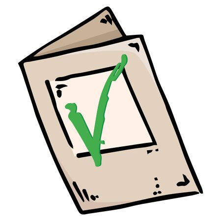 Voting ballot, form, questionnaire icon. Vector illustration of ballot paper. Hand drawn form with a check mark, document. Illustration