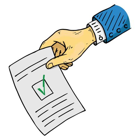 Voting ballot, form, list icon. Vector illustration of ballot paper in hand. Wrist hand holds a blank with a cross mark, document, sheet of paper with text.