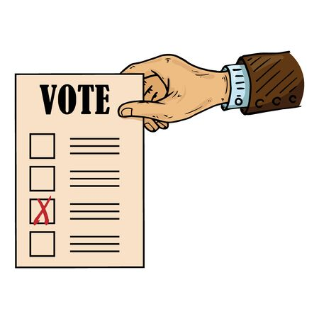 Ballot holds the hand of an African American. Vector illustration of a ballot in the hand of a man. Hand wrist holds a blank with a cross, a document, a sheet of paper with text. Hand with a sleeve of a man.