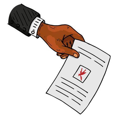 La boleta tiene la mano de un afroamericano. Ilustración de vector de una papeleta en la mano de un hombre. La muñeca de la mano tiene un espacio en blanco con una cruz, un documento, una hoja de papel con texto. Mano con una manga de hombre. Ilustración de vector