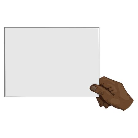 Hand is holding a blank sheet of paper icon. Vector illustration of a man's hand holding blank paper. Hand drawn blank paper in hand.