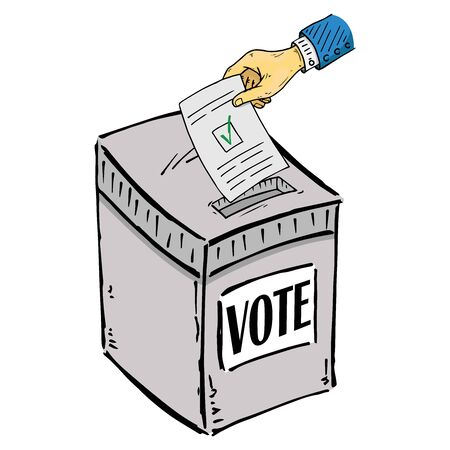 Ballot box. Vector illustration box for vote. Ballot box for voting in elections hand drawn. Wrist hand holds a voting ballot with a check mark, form, list icon.