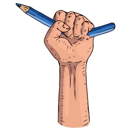 Broken pencil in a fist icon. Vector illustration of a broken pencil in a male hand. Hand drawn broken pencil in a fist.
