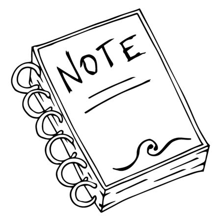Notepad, notebook. Vector illustration of a notebook. Hand drawn notebook.
