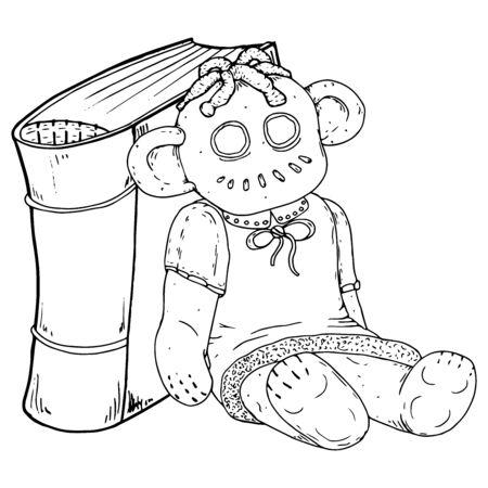 Buch und die Puppe. Vektorillustration eines Märchenbuches mit einer Puppe. Ragdoll.