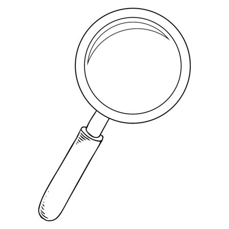 Loupe. Vector illustration of a magnifying glass. Hand drawn magnifier.
