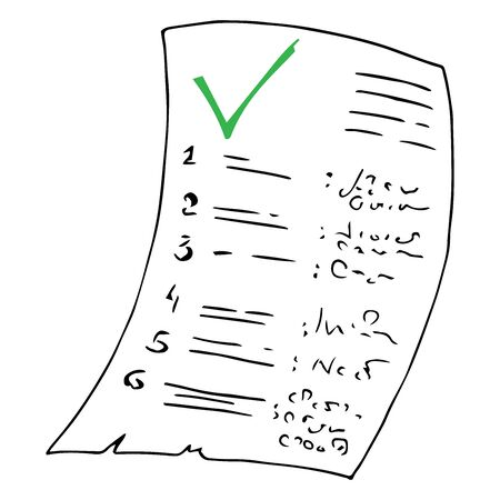 Schedule, examination work. Vector illustration of paper with inscriptions statement. Account, check.
