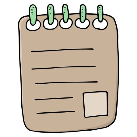 Notebook. Vector illustration of a blank with marks. Tax form. Hand drawn notepad with marks.