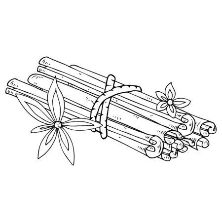 Zimt-Symbol. Vektor-Illustration von Zimtstangen. Handgezeichnete Stöcke und Zimtblume.