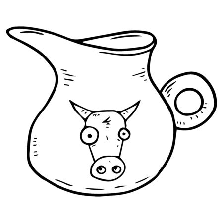 Milk jug icon. Vector illustration of a ceramic milk jug. Hand drawn classic vintage milk jug.