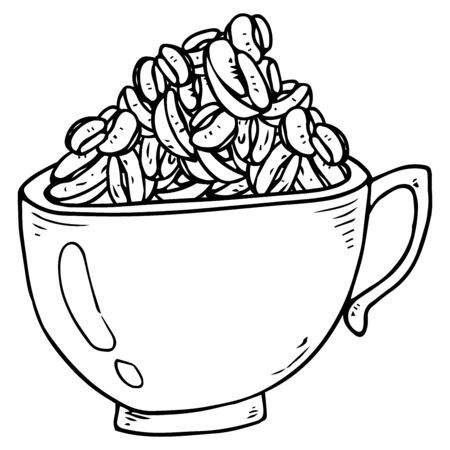 Cup full of coffee beans icon. Vector illustration of a cup with coffee beans.