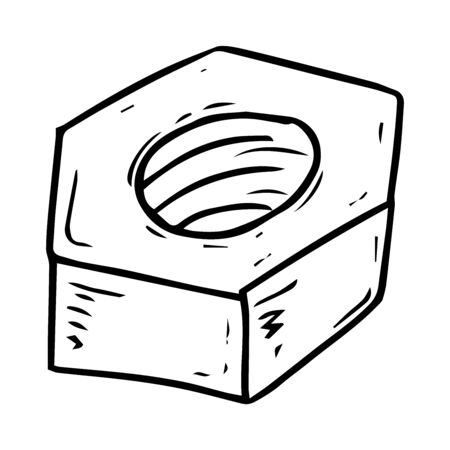 Gadget icon. Vector illustration of a bolt and nut. Hand drawn tool nut.