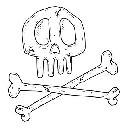 Skull with bones icon. Vector illustration of skull and bones. Hand drawn human bones and skull.