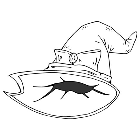 Hat of a witch. Vector illustration of a witch hat for Halloween. Hand drawn  cartoon witch hat. 일러스트