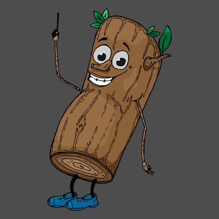 Log with a face. Vector illustration of a cartoon log with a funny face. Hand drawn tree with a face. Cartoon tree, a log with eyes, lips, arms and legs.
