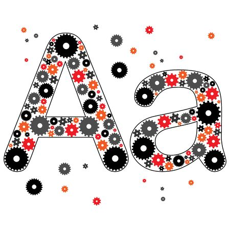 Alphabet. Vector illustration of letter A made from gears. English letter from color gears.  イラスト・ベクター素材