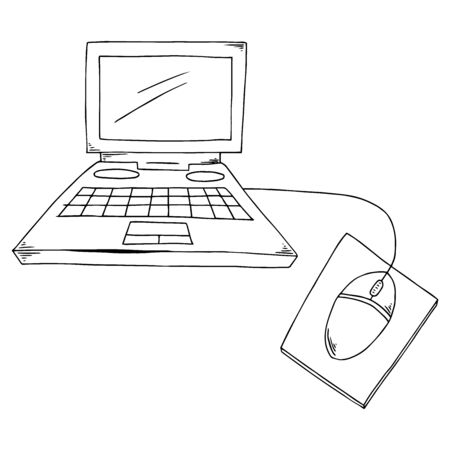 Laptop with a mouse. Vector illustration of a laptop computer with a mouse. Hand drawn laptop.  イラスト・ベクター素材