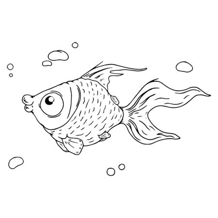 Cartoon fish with bubbles. Vector illustration of a funny fish. Hand drawn fish with bubbles. Ilustração