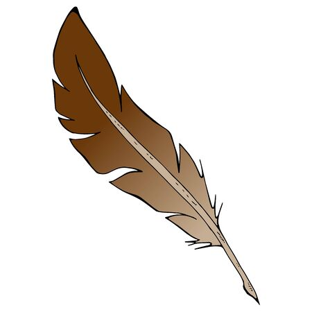 Feather pen icon. Vector illustration of a feather for calligraphy. Hand drawn feather pen Zdjęcie Seryjne - 138437614