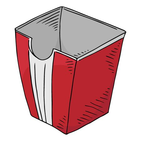 Trash bin. Vector illustration of a trash bin in the office. Hand drawn trash can for papers.