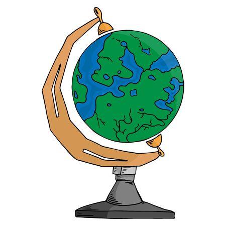Globe. Vector of a globe. Earth. Planet Earth. Hand drawn globe.