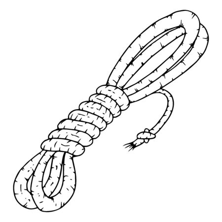 Rope icon. Vector illustration of a coil of rope. Hand drawn rope.