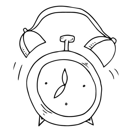 Alarm clock. Vector illustration of an old alarm clock at seven in the morning. Hand drawn alarm clock stands at seven in the morning. 向量圖像