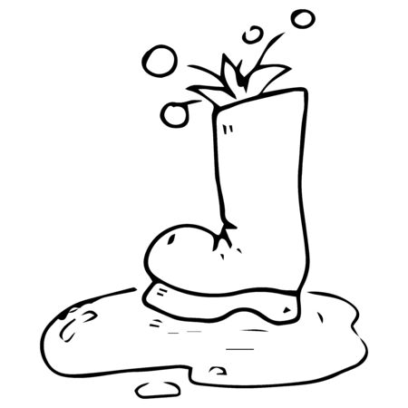 Garden rubber boots. Vector illustration of rubber boots. Hand drawn boot in a pool of water, mud.
