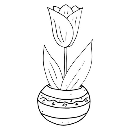 Vase with spring flowers icon. Vector illustration of daffodils and tulips in a vase. Hand drawn spring flowers in a pot.