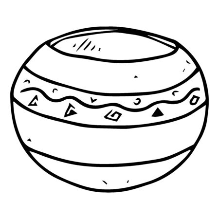 Garden flower pot icon. Vector illustration of a pot for spring flowers. Hand drawn garden pots for spring flowers.